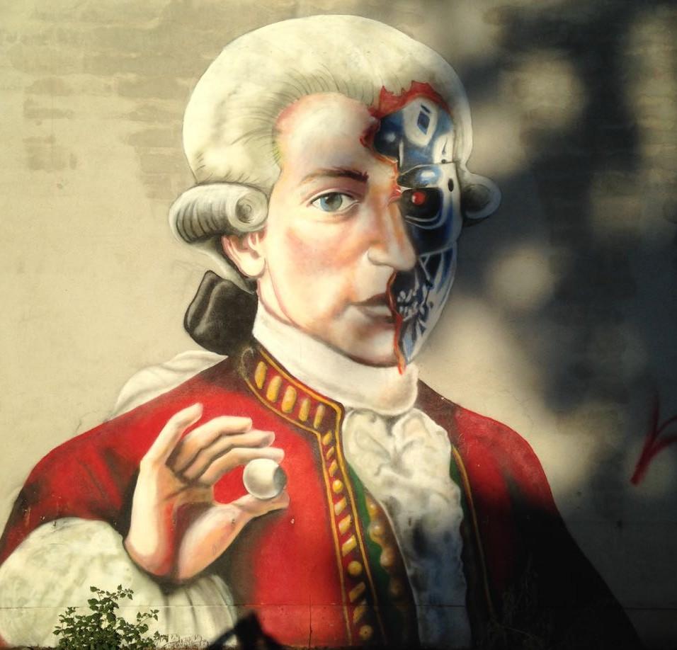 Graffiti mit Mozart der auch halb Terminator ist.