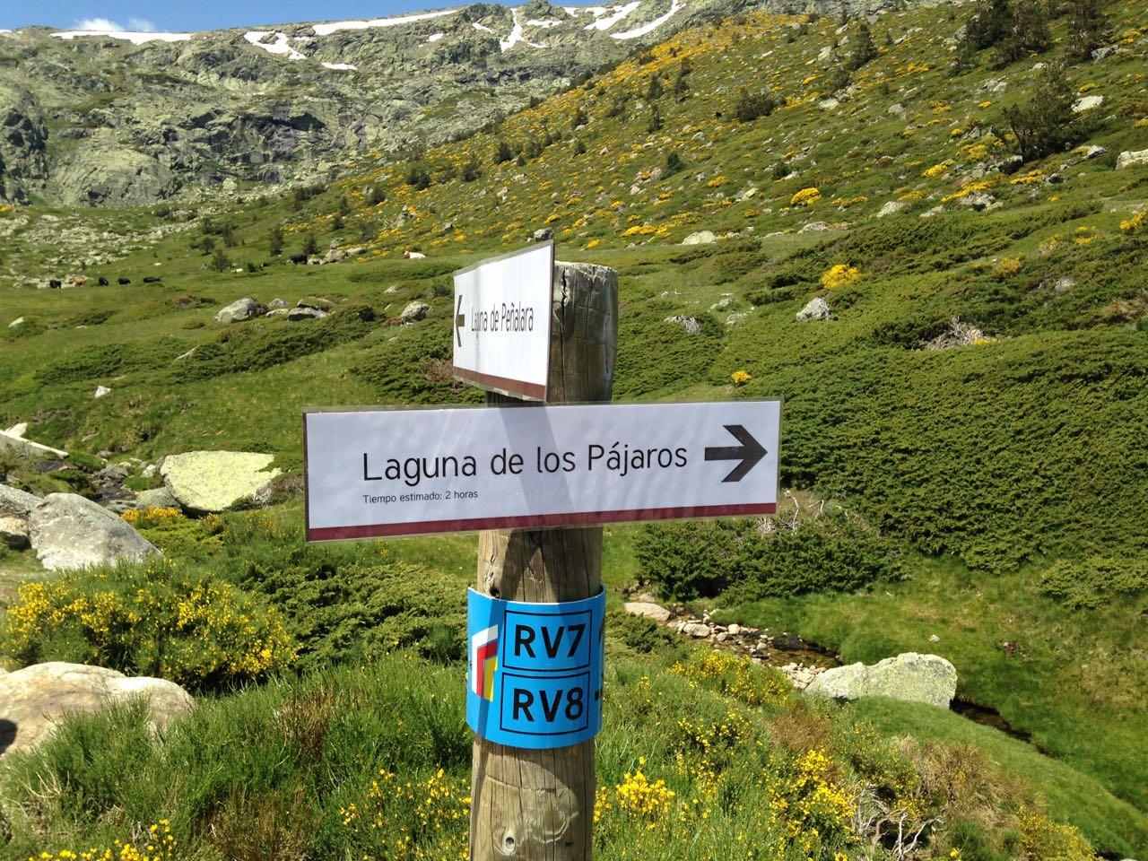Wegweiser zur Laguna des los Pajaros.