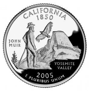 John Muir auf der 15 Cent Münze von Kalifornien